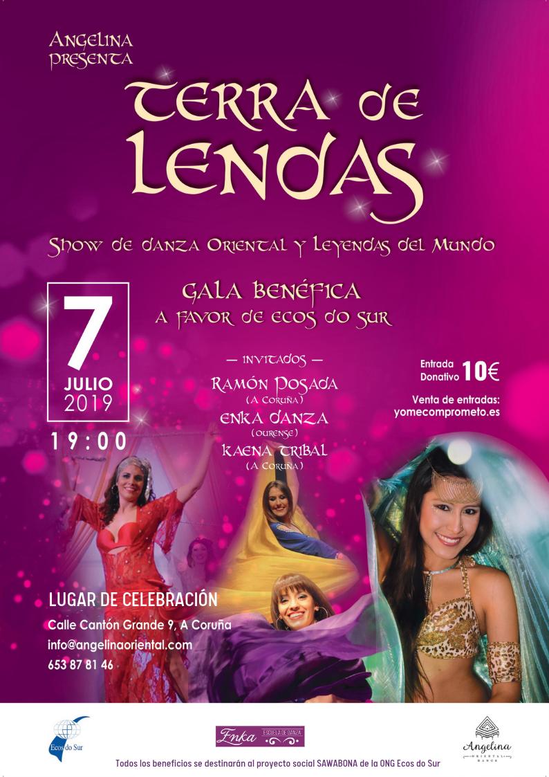 """Cartel informativo sobre la gala benéfica a favor de la ONG Ecos do Sur """"Terra de Lendas"""", con danza oriental y danzas del mundo"""